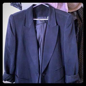 100% silk medium length jacket with shoulder pads